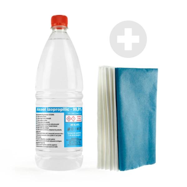 Kit curatare cu lavete microfibra si alcool izopropilic 99.9 la suta Danida Chem