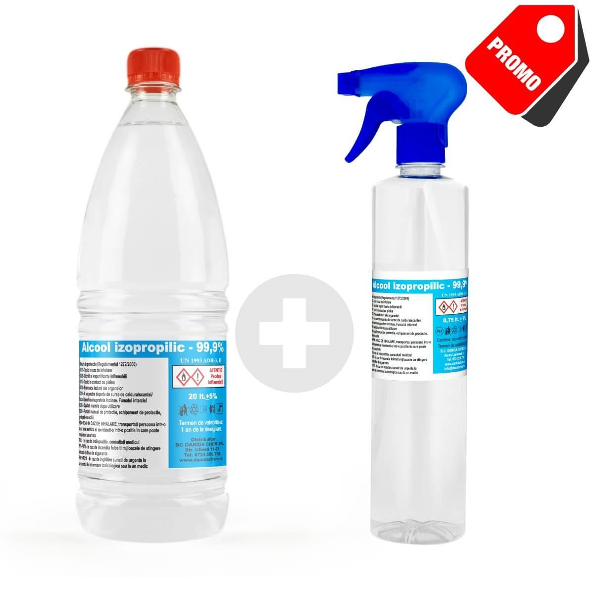 Pachet promotional alcool izopropilic pulverizator Danida Chem
